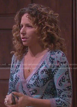 Anne's paisley printed wrap dress on Days of our Lives