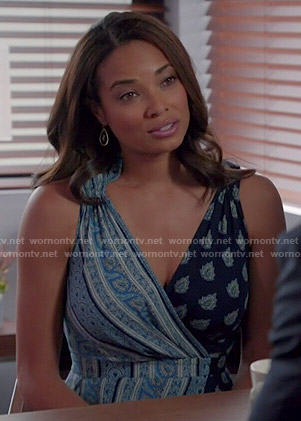 April's blue mixed print dress on Mistresses