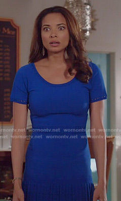 April's blue short sleeve pleated dress on Mistresses