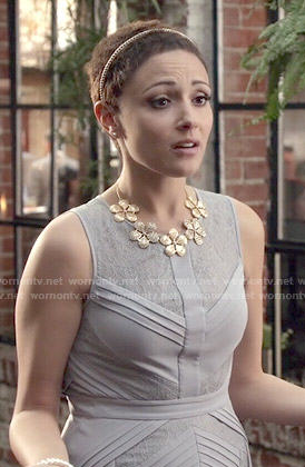 April's lavender pleated lace dress on Chasing Life
