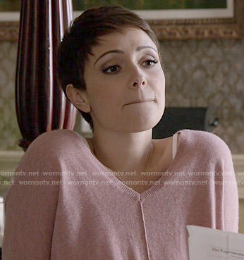 April's pink sweater with front seam on Chasing Life