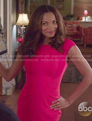 April's red cap sleeve dress on Mistresses