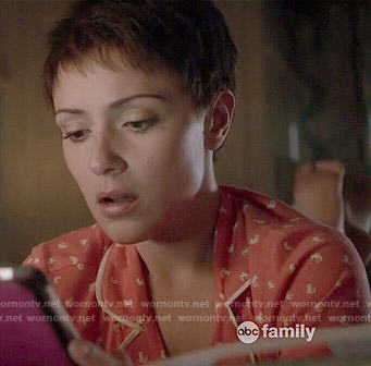 April's coral seahorse print pajamas on Chasing Life
