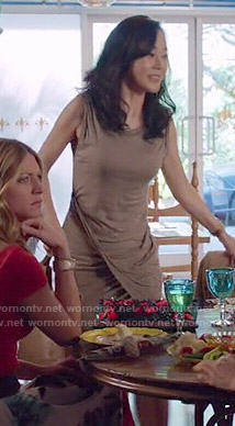 Karen's taupe draped dress on Mistresses