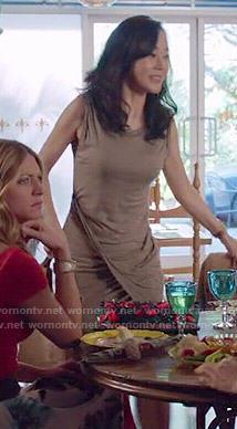 Karen's taupe draped dress on Mistresses