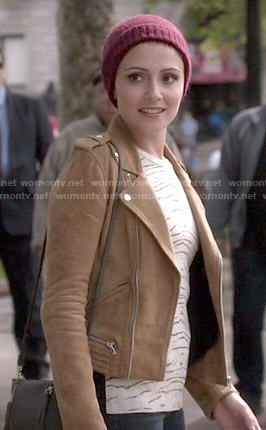 April's tan suede moto jacket on Chasing Life