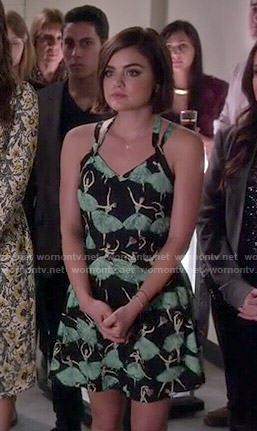 Aria's ballerina print dress on Pretty Little Liars