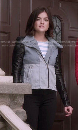 Aria's denim colorblock jacket with leather sleeves and blue striped cold shoulder top on Pretty Little Liars