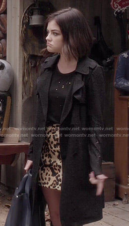Aria's lace trench coat and leopard print skirt on Pretty Little Liars