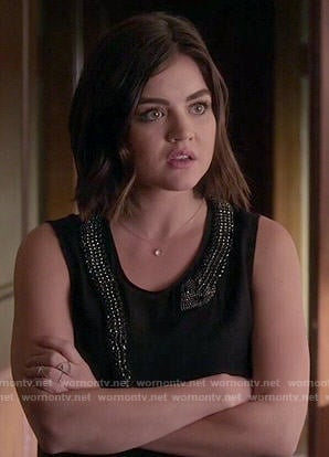 Aria's black top with embellished snake on Pretty Little Liars