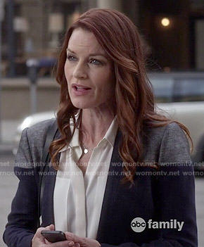 Ashely's navy colorblocked blazer and white blouse on Pretty Little Liars