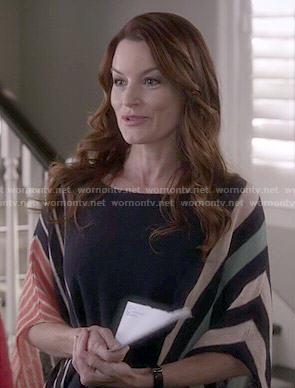 Ashley's striped poncho top on Pretty Little Liars