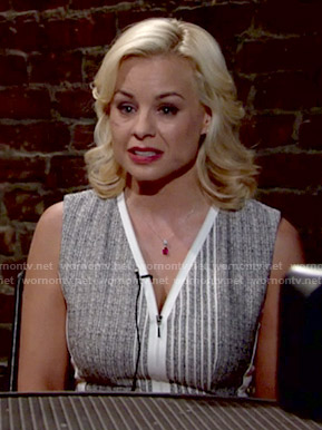 Avery's grey zip front dress on The Young and the Restless