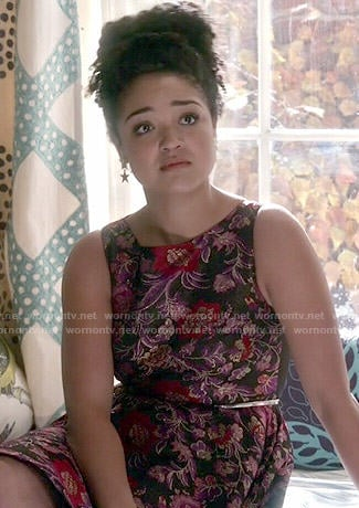 Beth's black and purple floral dress on Chasing Life