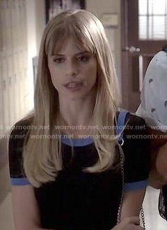 Brooke's black top with blue trim on Scream