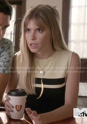 Brooke's black and yellow striped crop top on Scream