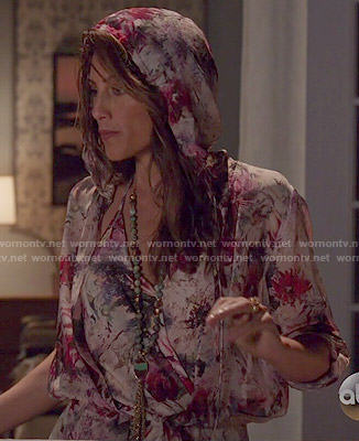 Calista's floral hooded jumpsuit on Mistresses
