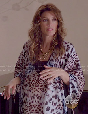 Calista's leopard print caftan on Mistresses