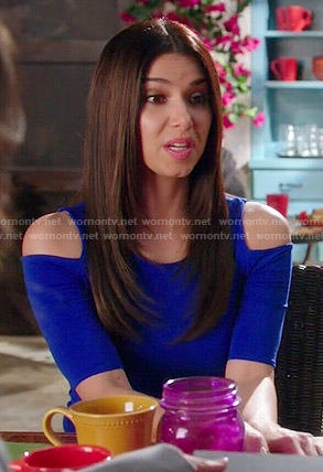 Carmen's blue cold shoulder top on Devious Maids