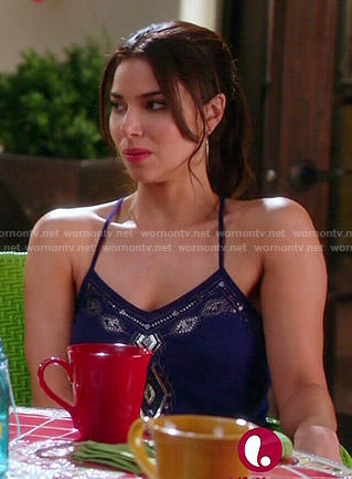 Carmen's navy beaded cami on Devious Maids