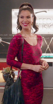 Carmen's red lace bodycon dress on Devious Maids