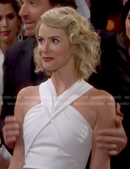 Caroline's white  cross-neck crop top on The Bold and the Beautiful