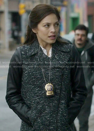 Cat's tweed coat with leather sleeves on Beauty and the Beast