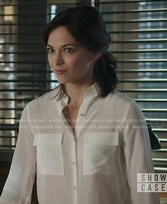 Cat's white button front blouse on Beauty and the Beast