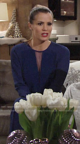 Chelsea's blue mesh panel jumpsuit on The Young and the Restless