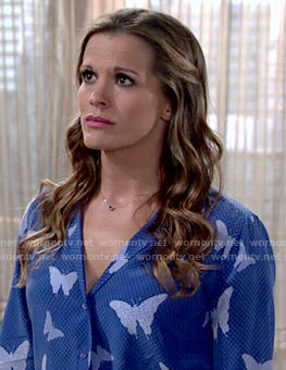 Chelsea's blue butterfly print blouse on The Young and the Restless