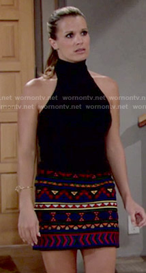 Chelsea's beaded skirt and black halter top on The Young and the Restless