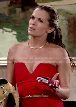 Chelsea's red strapless jumpsuit on The Young and the Restless