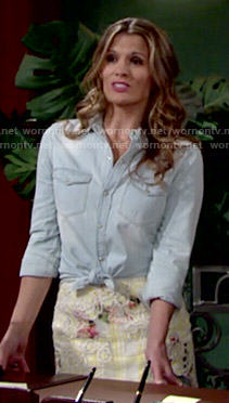 Chelsea's yellow floral crochet skirt and denim shirt on The Young and the Restless
