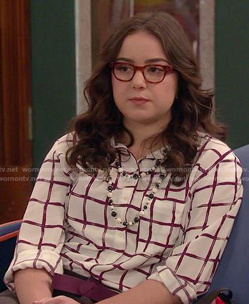 Delia's windowpane print shirt on I Didn't Do It