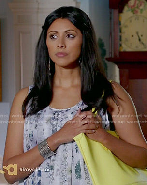Divya's floral pleated tank top on Royal Pains