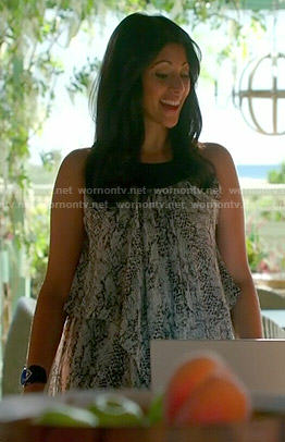 Divya's snake printed maxi dress on Royal Pains