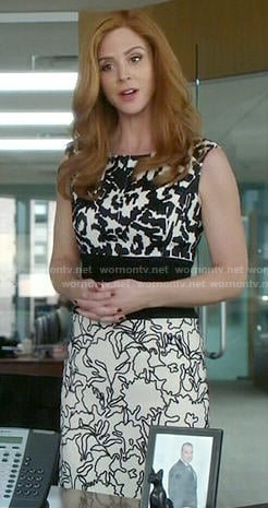 Donna's black and white mixed pattern dress on Suits