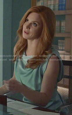 Donna's blue draped dress on Suits
