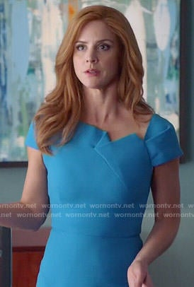 Donna's blue folded detail dress on Suits