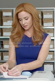 Donna's blue v-neck dress on Suits