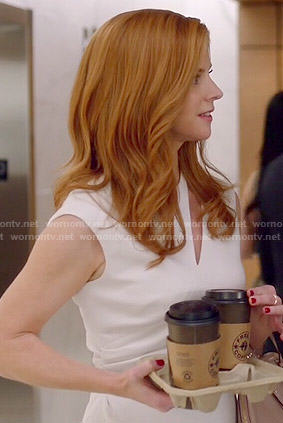 Donna's white cutout dress on Suits