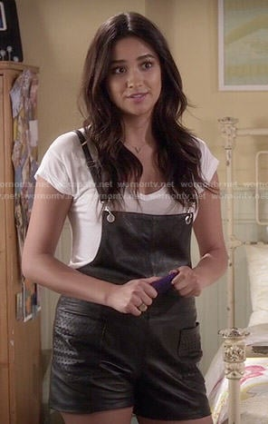 Emily's leather overalls on Pretty Little Liars
