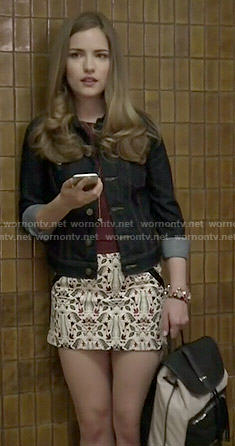Emma's white printed skirt on Scream