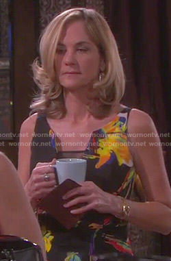 Eve's floral mesh panel dress on Days of our Lives