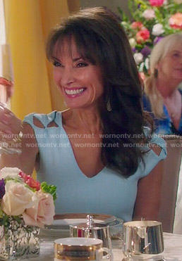 Genevieve's blue dress with cutout shoulders on Devious Maids