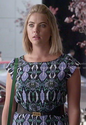 Hanna's blue and green snake print dress on Pretty Little Liars