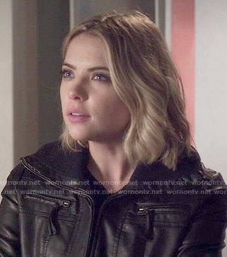 Hanna's black leather jacket on Pretty Little Liars