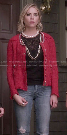 Hanna's red tweed jacket on Pretty Little Liars