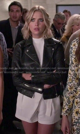Hanna's white high neck romper and leather jacket on Pretty Little Liars