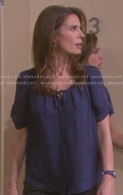 Hope's navy tie neck blouse on Days of our Lives
